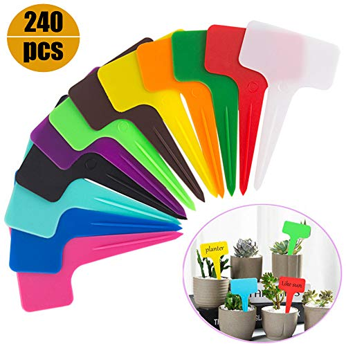 Ameolela 240PCS Plastic Waterproof Plant Nursery Garden Labels T-type Tags Markers Plant Stakes Re-Usable Plant Labels Friendly for Vegetables Herb Flower Greenhouse 12 Colors 2.4