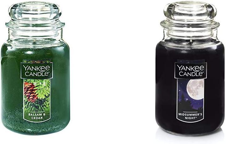 Yankee Candle Large Jar Candle Balsam & Cedar & Large Jar Candle Midsummer's Night