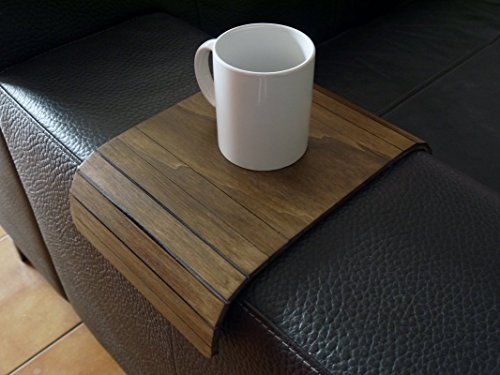 Wooden sofa armrest table 20 Available colors as dark walnut Furniture for armchair arm Made of poplar plywood Modern slinky sofa tables couch tray design by italian designer Handmade in Italy