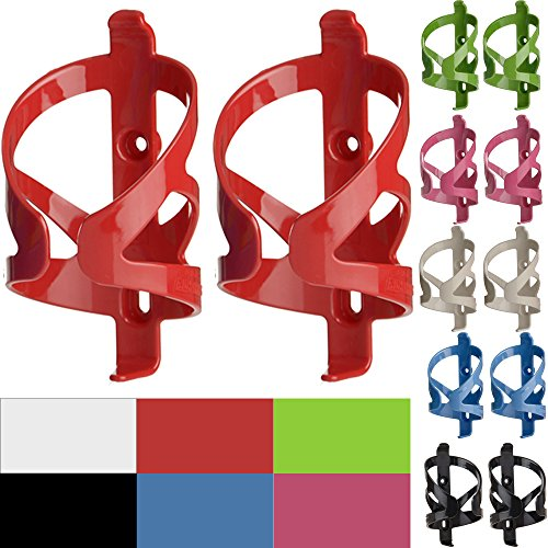 50 Strong Bike Water Bottle Holder 2 Pack – Made in USA – Easy to Install - Durable Bicycle Cage - Red