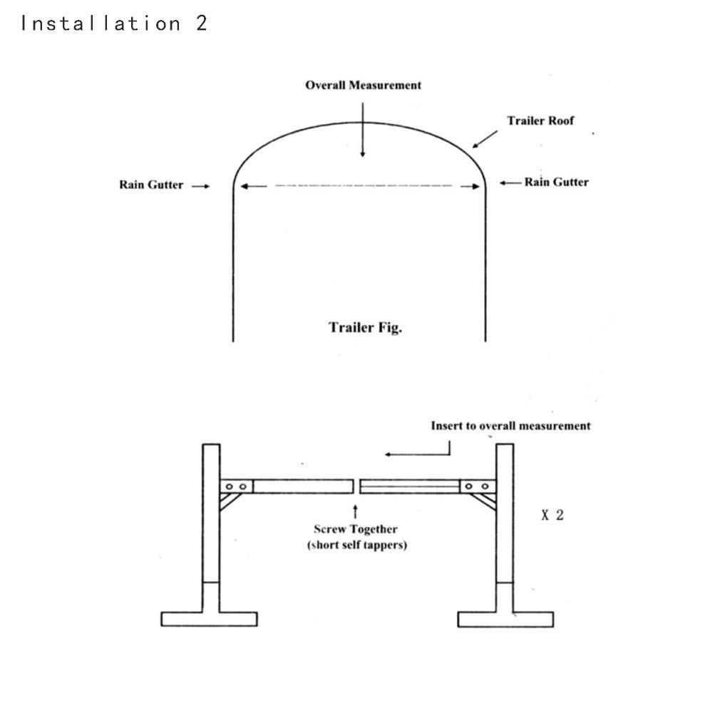 Hydraker Adjustable Aluminum Trailer Ladder Rack Fit for Enclosed Trailers
