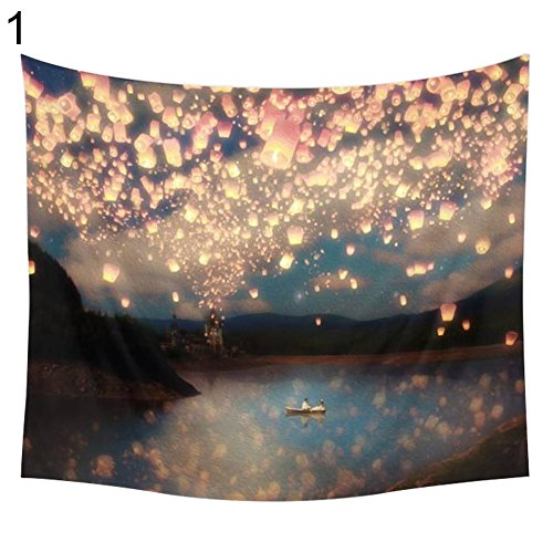 SuBoZhuLiuJ Kongming Lantern Sunrise Wall Hanging Picnic Blanket Table Cover Beach Towel - 200 X 150CM 1