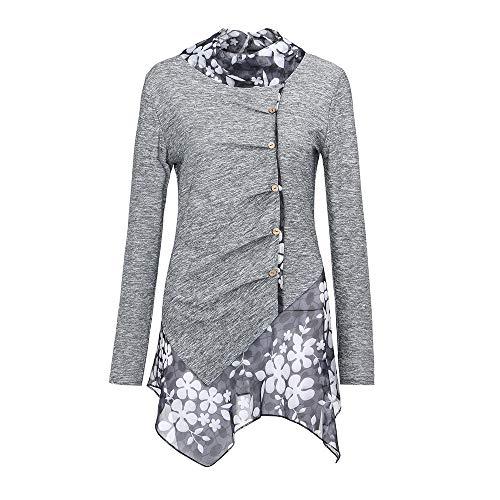 Lookatool LLC Women Patchwork Irregular Hem Blouses Long Sleeve Button Tunic Tops Blouse -