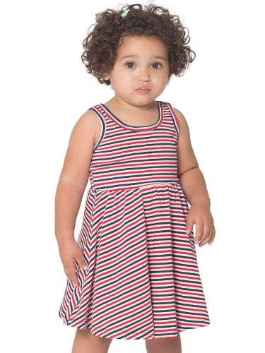 American Apparel Striped Infant Skater Dress - Natural Navy Red Santoro Stripe / 6-12M