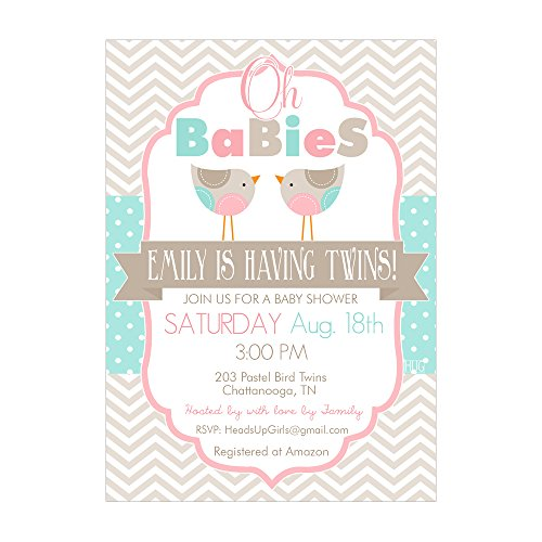 Set of 12 Customizable Personalized Baby Shower Invitations and Envelopes with Pastel Bird Twins Gender Neutral NV203
