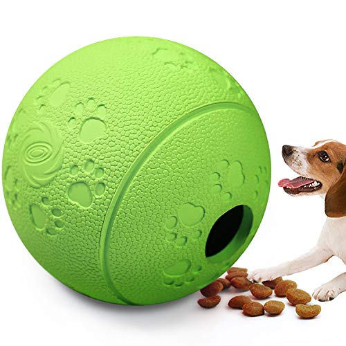 Wisedom Treat Ball - Interactive Dog Toys - Non-Toxic & Durable Rubber Treat Food Dispenser IQ Ball for Pet Puppies and Cat Chasing Chewing -
