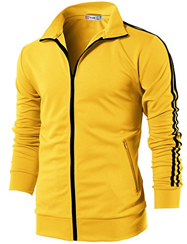 Yellow Mens Performance Jacket - H2H Mens Sports Slim Fit Lightweight Line Training Full Zip-up Jacket Yellow US S/Asia M (CMOJA0103)