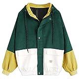 Tootu Women Long Sleeve Patchwork Oversize Jacket Windbreaker Coat Overcoat