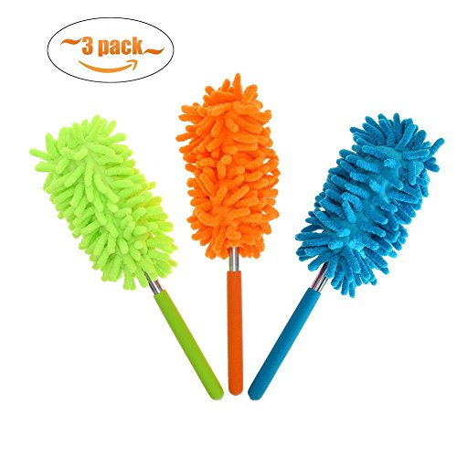 - Phoenixes Retractable Long-Reach Washable Dusting Brush Microfiber Hand Duster with Telescoping Pole (3 PCS)