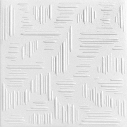 A la Maison Ceilings 1293 Country Wheat – Styrofoam Ceiling Tile Package of 8 Tiles , Plain White
