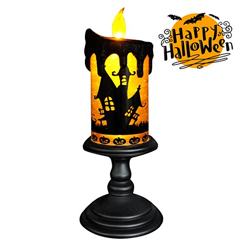 Eldnacele Halloween Snow Globe Candles Lighted Lamp, Battery Operated Spinning Water Glittering Tornado Flameless Candles Table Centerpiece for Halloween Celebration Parties, -