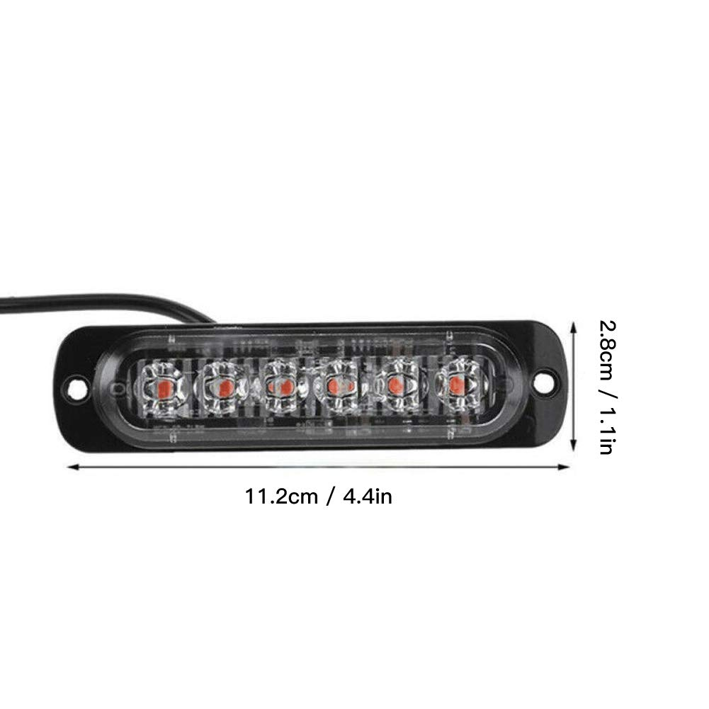 Mioloe /Ámbar 6 LED de Emergencia Intermitente de Advertencia de luz estrobosc/ópica Baliza para cami/ón de Coche 12-24 V Universal