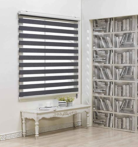 Custom Cut to Size, Winsharp Blackout Fetra, Grey, W 25 x H 47 inch Zebra Roller Blinds, Dual Layer Shades, Sheer or Privacy Light Control, Day and Night Window Drapes, 20 to 113 inch Wide