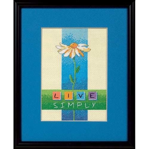 Dimensions Needlecrafts 6975 Counted Cross Stitch, Live Simply (Flower Vases Yarn)