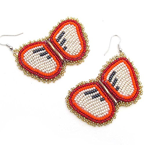 VivaApparel Handmade RED Color Glass Seed Beads Beaded Butterfly Style Earrings E-53-SB-3