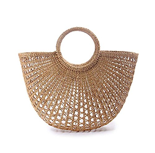 verano mango paja para mujeres ronda Out mimbre bolsa de bolsa Artesanal tejida bolso playa Hollowed tejida BqTtxz