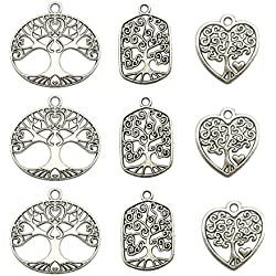 Tree Charm Collection-60Pcs Craft Supplies Tree Of Life Charms Pendants for Crafting, Jewelry Findings Making Accessory For DIY Necklace Bracelet Earrings (Tree Of Life Charms)