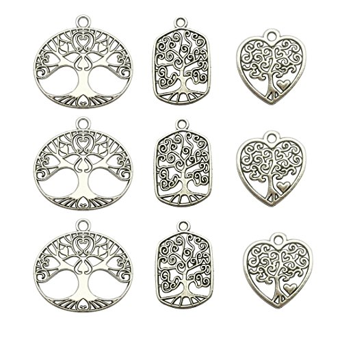 (Tree Charm Collection-60Pcs Craft Supplies Tree Of Life Charms Pendants for Crafting, Jewelry Findings Making Accessory For DIY Necklace Bracelet Earrings (Tree Of Life Charms))