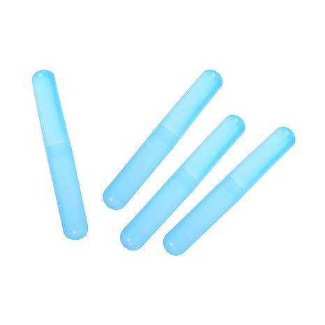 Welecom 4 pcs (azul) cajas de viaje de plástico cepillo de dientes titular caso