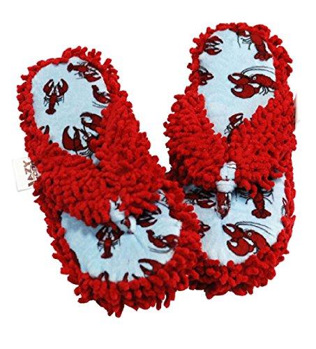 Lazy One Women's Plush Thong Flip Flop Spa Slippers (L/XL Women's 7-9, Lobster) - Lobster Flip Flops