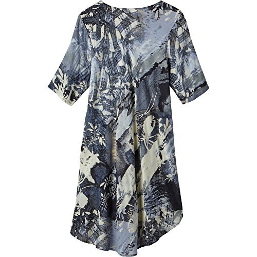 CATALOG CLASSICS Women's Tunic Top - Eventide Dusky Blue Floral Print - Long Length - 1X
