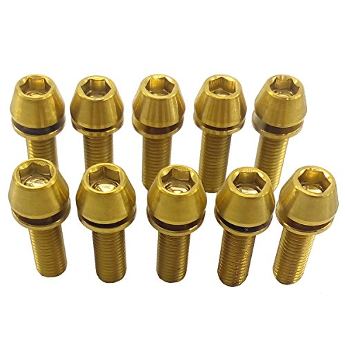 1 Pc Hex Crank (1 Pcs M5X16 Bike Stem Titanium Hex Taper Cone Head Ti M5 Bolts Screw+Washer Gold)