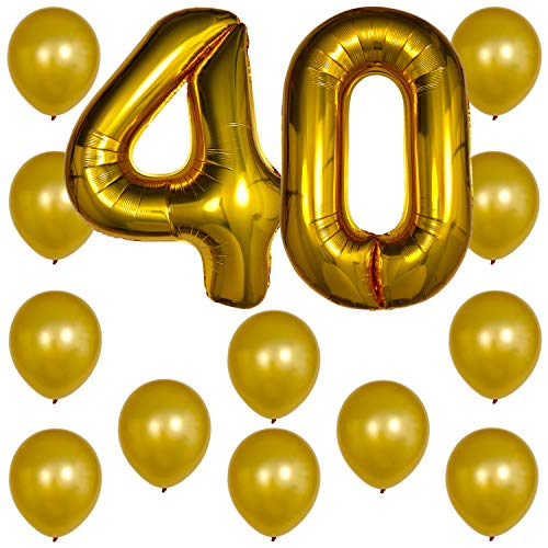Gold Number Balloons - Foil Mylar Party Decorations Decor & 12PC Helium Latex Balloon Ballons w/Ribbons Kit Set Supplies for Fortieth 40th Happy Birthday Anniversary (Numbers 40 - ()