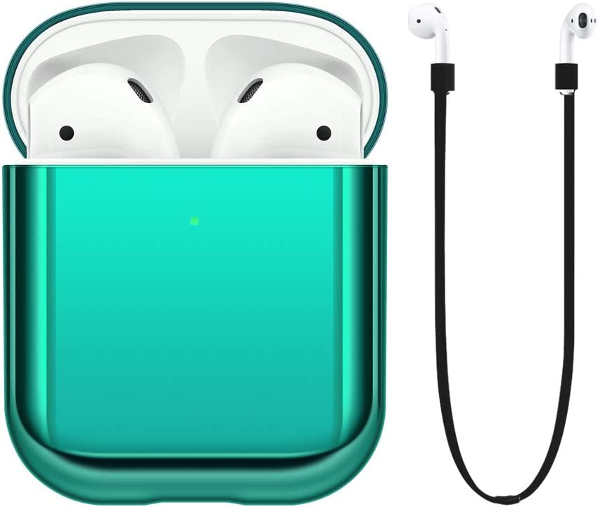 FRTMA Compatible with Apple AirPods 2nd Generation Case Cover [Front LED Visible] Hard PC Case & Anti-Lost Strap(Emerald Green)