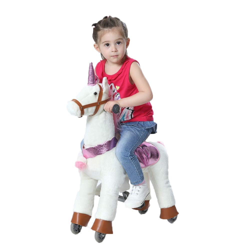 Happy Island Cute Little Pony Foal Giddy Up Ride On Horse Walking Simulated No Battery No Electricity Mechanical Horse Large (Unicorn, Small)