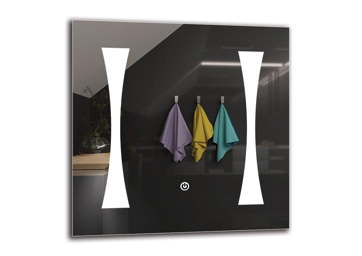 Specchio LED Deluxe - Dimensioni dello Specchio 40x40 cm - Interruttore tattile - Specchio per Bagno - Specchio a Muro - Specchio con Illuminazione - ARTTOR M1CD-23-40x40 - Bianco Caldo 3000K