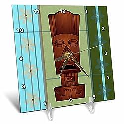3dRose dc_77493_1 Wood Grain Tropical Tiki Mask Hawaiian Flowers Orange Blue & Green Desk Clock, 6 by 6