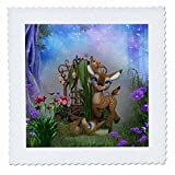 3dRose Cartoon Animals - Baby fawn with big blue eyes in a beautiful fantasy garden - 22x22 inch quilt square (qs_265959_9)