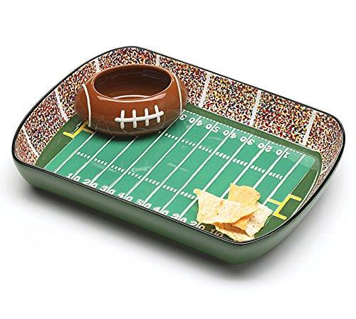(Ceramic Football Stadium Chip and Dip Set with Football Dip Bowl,)