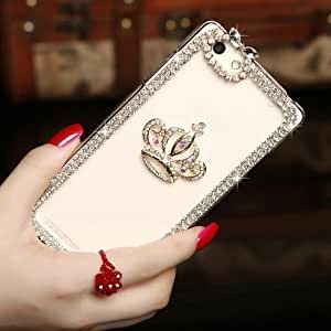 EVERMARKET(TM) 3D Handmade Clear Bling Crystal Rhinestone Diamond Crown Style Hard Skin Case Cover for Apple iPhone 6 Plus 5.5 Inch