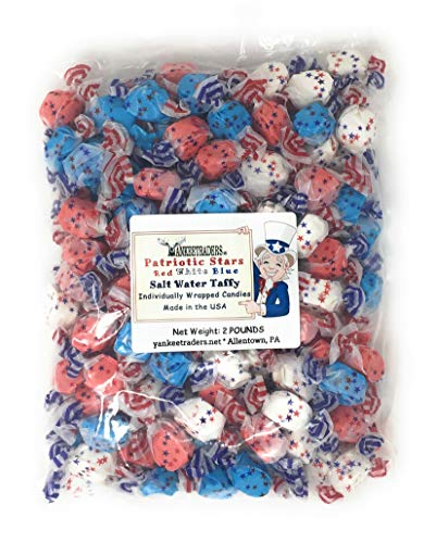 Patriotic Stars, Red, White & Blue Salt Water Taffy, 2 Pound Party -