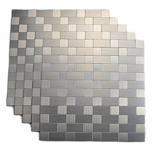 Yipscazo Peel and Stick Tile Backsplash, Stainless Steel Stick on Tile for -