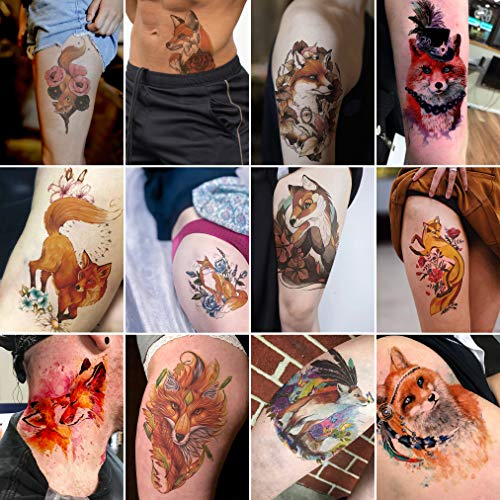 Oottati 12 Sheets Large Temporary Tattoos Kit - 21x15cm Flower Arm Watercolor Hand Paint Rose Flower Indian Orange Yellow Fox Suit For Arm Leg Back Thigh -