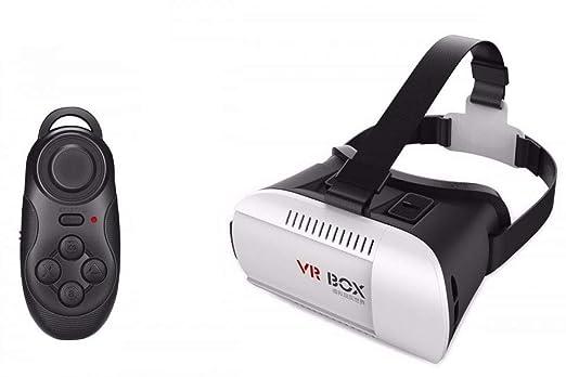 55e0d469a نظارات 3D المحاكية للواقع الافتراضي ثلاثي الابعاد للهواتف الذكية مع ريموت  كنترول بلوتوث للالعاب