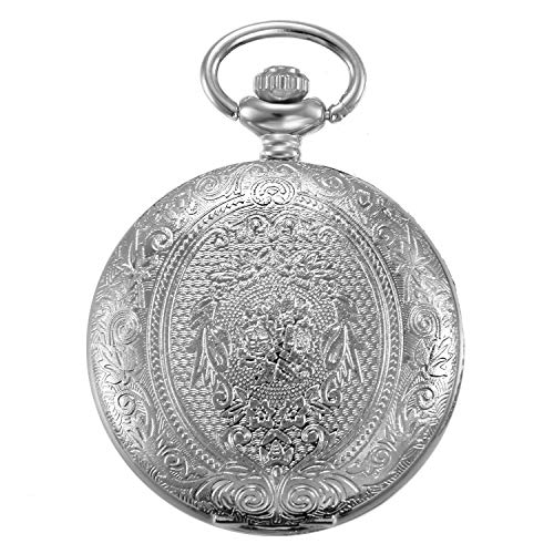 JewelryWe Vintage Pocket Watch Silver Tone Flowers Case Quartz Watch Long Sweater Necklace with 32 Inch Chain