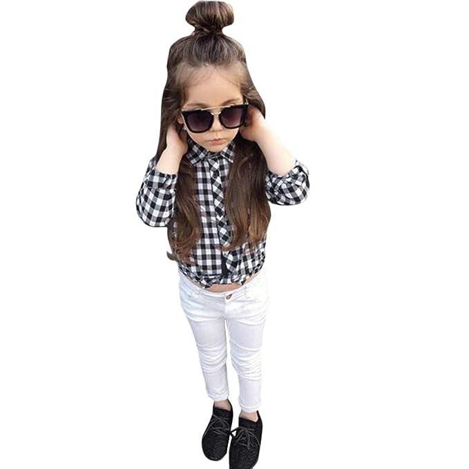 K-youth Ropa Bebe Nina Otoño Invierno Deportivo Blusa Bebe Niña Enrejado Camisetas Bebé Niña Conjunto Bebe Niña Moda Camisa Tops + Pantalones Blanco, ...