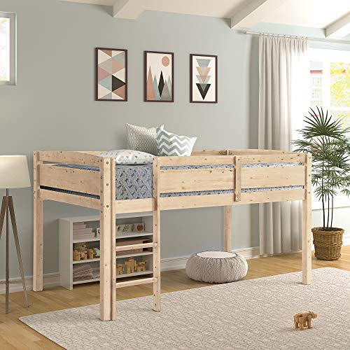 Twin Loft Bed for Kids, Low Loft Bed Frame with Ladder ()