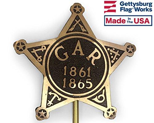 Gar Civil War - Gettysburg Flag Works Civil War Bronze Union Grave Marker, G.A.R. 1861-1865 for Cemetery, Memorial Flag Holder, Made in USA