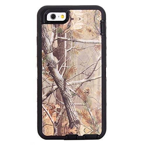 "MOONCASE iPhone 6S Hülle, Realtree Camo 3 Layer Hybrid Rugged Heavy Duty Defender Case TPU Handyhülle Drop Resistance Tasche Schutzhülle mit Standfunktion für Apple iPhone 6 6S 4.7"" -Schwarz Baum"
