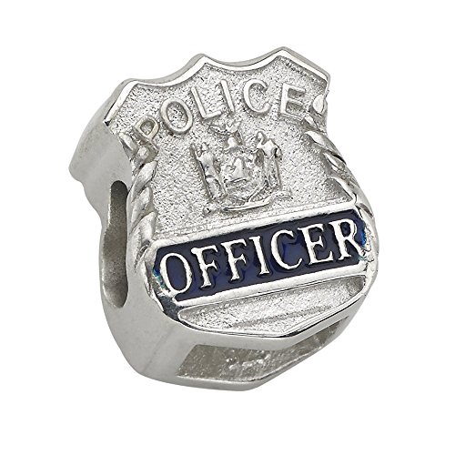 Police Officer Shield Charm - Fits Pandora Bracelet - Sterling Silver (Silver Enamel Shield Charm)