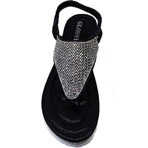 Sapphire Boutique by Sapphire Zafiro Boutique Mujer Gema pedrería con Tira Trasera DE Dedo Cuero De Imitación de Moda Chanclas Negro