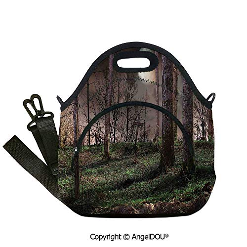 AngelDOU Gothic Neoprene Lunch Tote bag With shoulder strap Dark Night in the Forest with Full Moon Horror Theme Grunge Style Halloween student cute girls mummy bag.12.6x12.6x6.3(inch) -