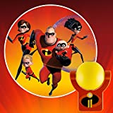 Projectables 41247 2 LED Plug-in Night Light, Collector's Edition, Yellow and Red, Mr. Incredible, Elastigirl, Violet, Dash Jack Characters on Ceiling, Wall or Floor