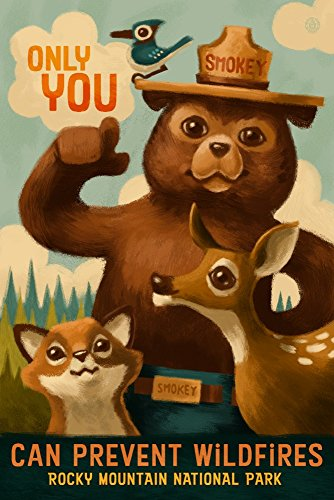 (Rocky Mountain National Park, Colorado - Smokey Bear (9x12 Art Print, Wall Decor Travel Poster))
