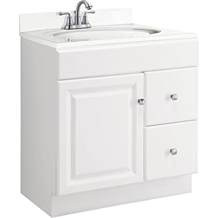 Design House 545061 Wyndham White Semi Gloss Vanity Cabinet With 1 Door And  2