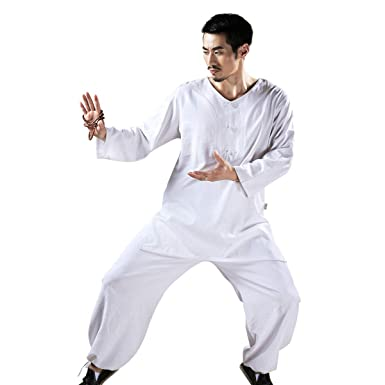 47c4971ac Amazon.com: KSUA Mens Tai Chi Uniform Chinese Kung Fu Clothing Cotton Tai  Chi Suit for Martial Arts Kungfu Taichi Zen Meditation: Clothing